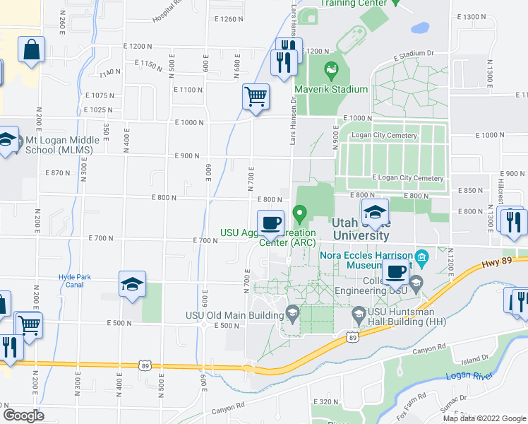 map of restaurants, bars, coffee shops, grocery stores, and more near 773 North 750 East in Logan