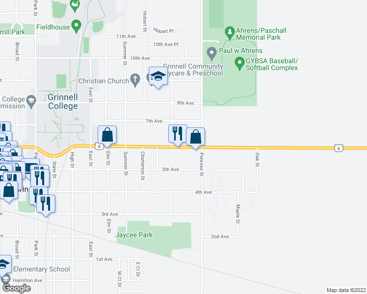 map of restaurants, bars, coffee shops, grocery stores, and more near 1839 6th Avenue in Grinnell