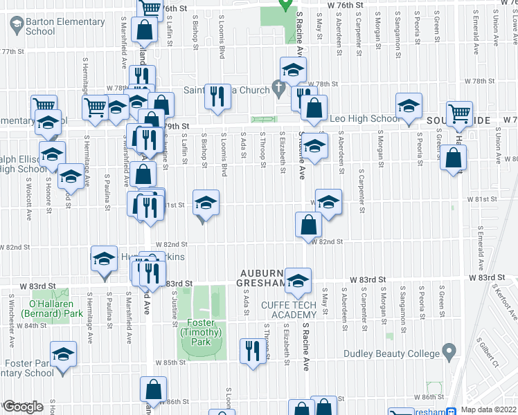 map of restaurants, bars, coffee shops, grocery stores, and more near 8100 South Throop Street in Chicago
