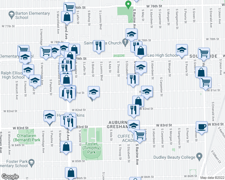 map of restaurants, bars, coffee shops, grocery stores, and more near 8055 South Ada Street in Chicago