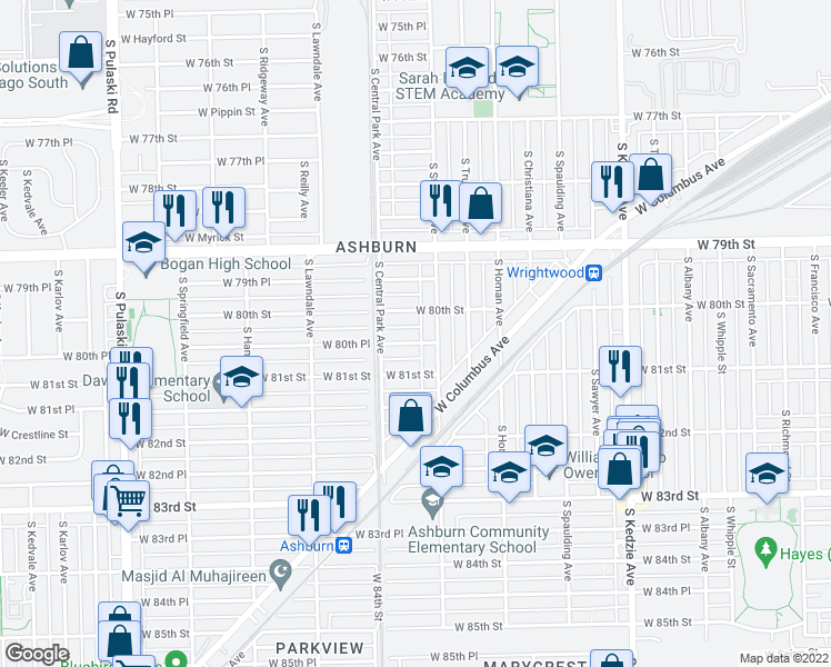 map of restaurants, bars, coffee shops, grocery stores, and more n