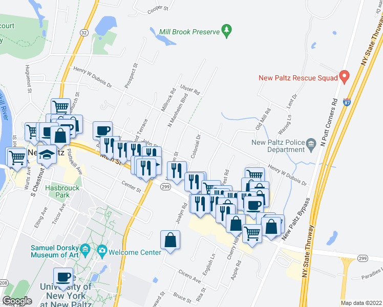 map of restaurants, bars, coffee shops, grocery stores, and more near 17 Colonial Drive in New Paltz