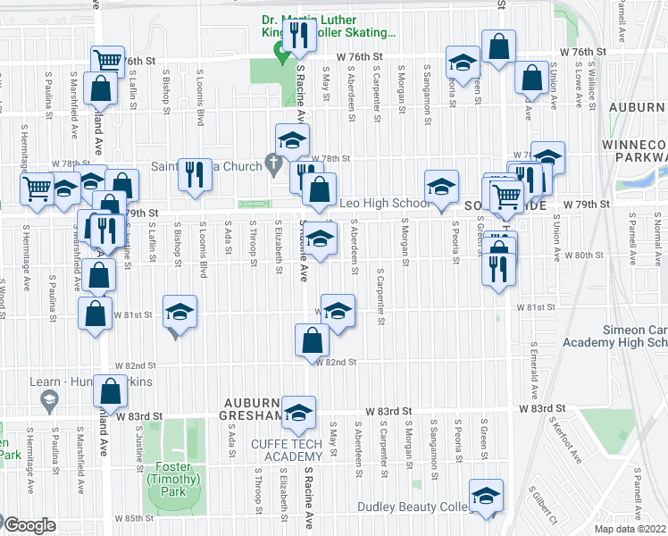 map of restaurants, bars, coffee shops, grocery stores, and more near 8009 South May Street in Chicago