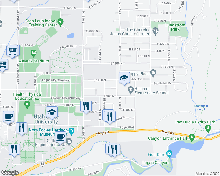map of restaurants, bars, coffee shops, grocery stores, and more near Davis Avenue in Logan