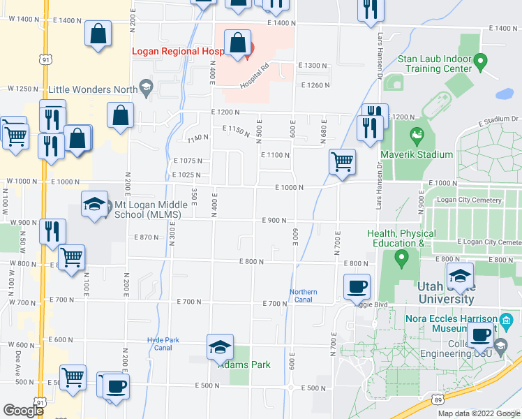 map of restaurants, bars, coffee shops, grocery stores, and more near 920 North 500 East in Logan