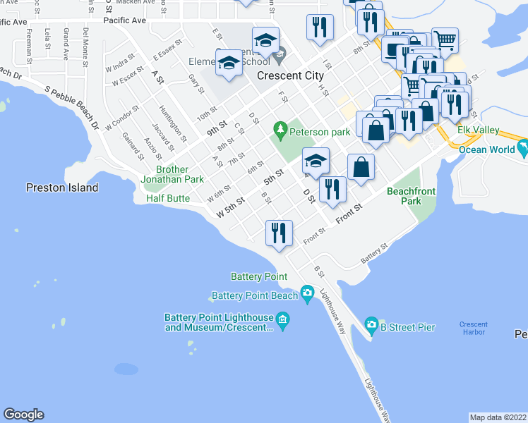 map of restaurants, bars, coffee shops, grocery stores, and more near 139 4th Street in Crescent City