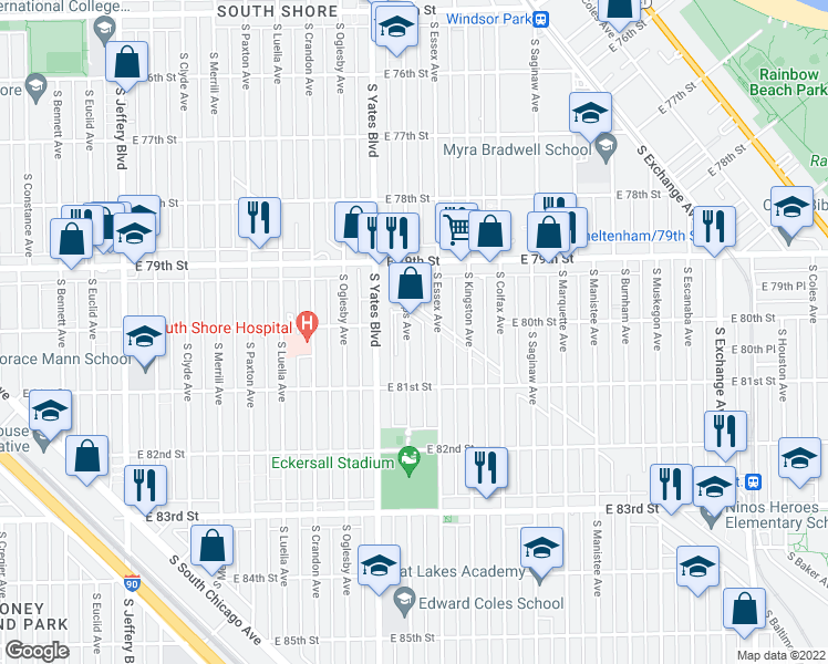 map of restaurants, bars, coffee shops, grocery stores, and more near 8001 South Phillips Avenue in Chicago