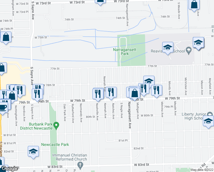 map of restaurants, bars, coffee shops, grocery stores, and more near 7803 Neenah Avenue in Burbank