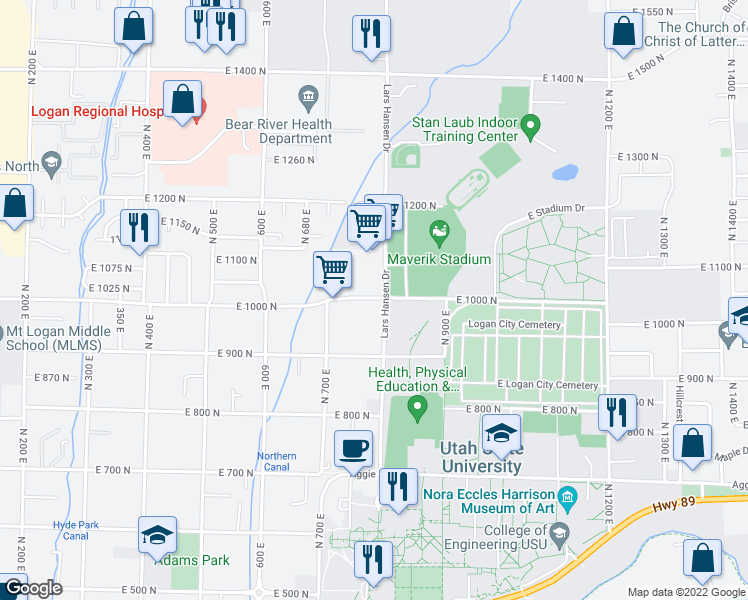 map of restaurants, bars, coffee shops, grocery stores, and more near 780 East 1000 North in Logan