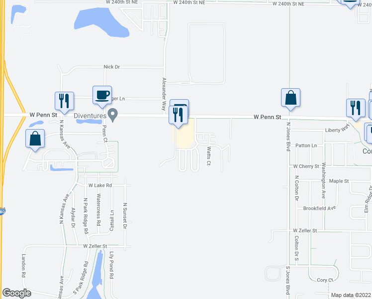 map of restaurants, bars, coffee shops, grocery stores, and more near Lincoln Drive in North Liberty