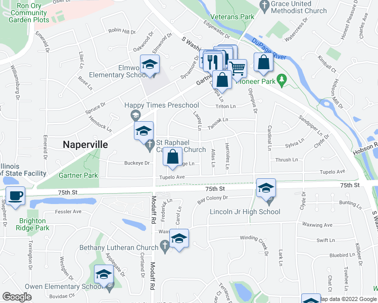 map of restaurants, bars, coffee shops, grocery stores, and more near 312 Rowan Court in Naperville