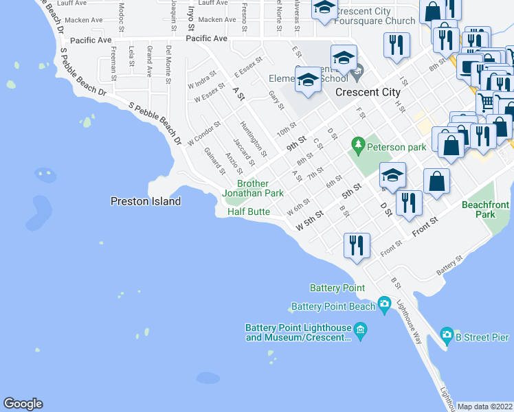 map of restaurants, bars, coffee shops, grocery stores, and more near 777 South Pebble Beach Drive in Crescent City