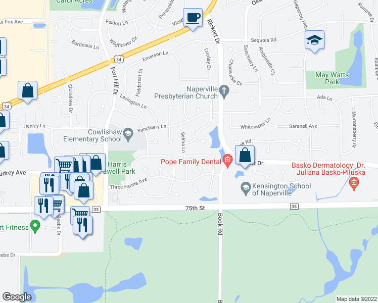 map of restaurants, bars, coffee shops, grocery stores, and more near 2059 Crossing Lane in Naperville