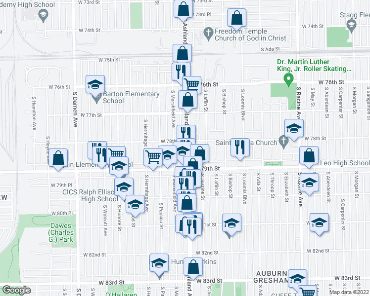 map of restaurants, bars, coffee shops, grocery stores, and more near 7820 South Ashland Avenue in Chicago