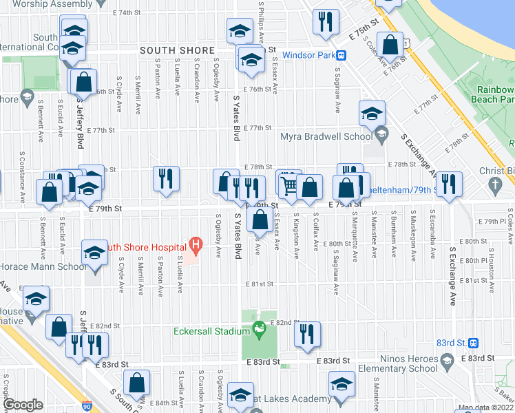 map of restaurants, bars, coffee shops, grocery stores, and more near East 79th Street & South Phillips Avenue in Chicago