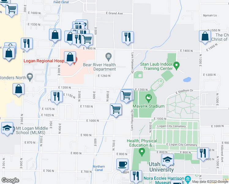 map of restaurants, bars, coffee shops, grocery stores, and more near North 730 East in Logan