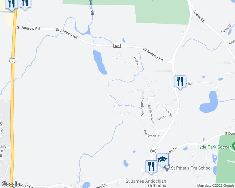 map of restaurants, bars, coffee shops, grocery stores, and more near 243 Pinebrook Drive in Hyde Park