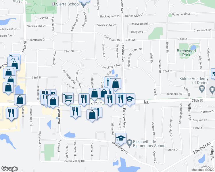 map of restaurants, bars, coffee shops, grocery stores, and more near 480 74th Street in Downers Grove