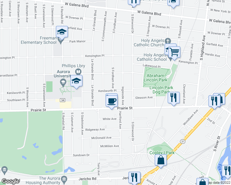 map of restaurants, bars, coffee shops, grocery stores, and more near 402 South Fordham Avenue in Aurora