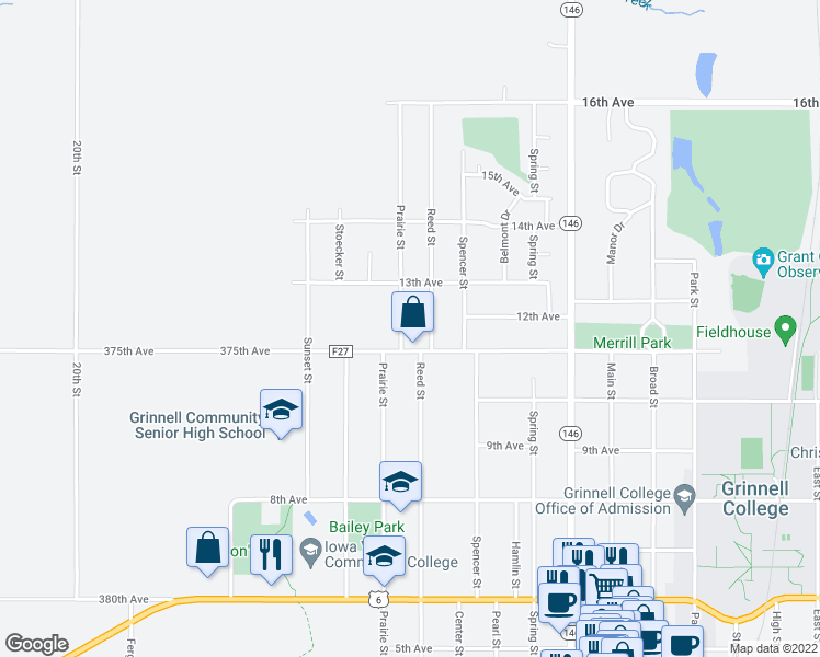 map of restaurants, bars, coffee shops, grocery stores, and more near 1616 Prairie Street in Grinnell