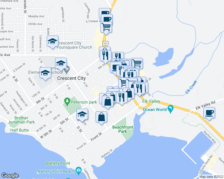 map of restaurants, bars, coffee shops, grocery stores, and more near 1041 5th Street in Crescent City