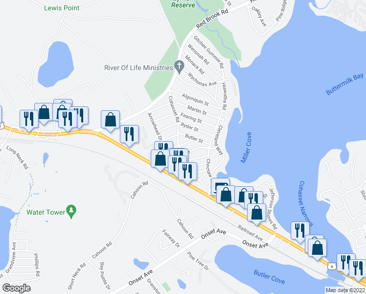 map of restaurants, bars, coffee shops, grocery stores, and more near 26 Tomahawk Drive in Wareham