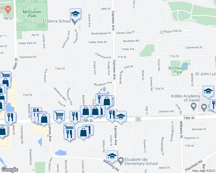 map of restaurants, bars, coffee shops, grocery stores, and more near 431 73rd Street in Downers Grove
