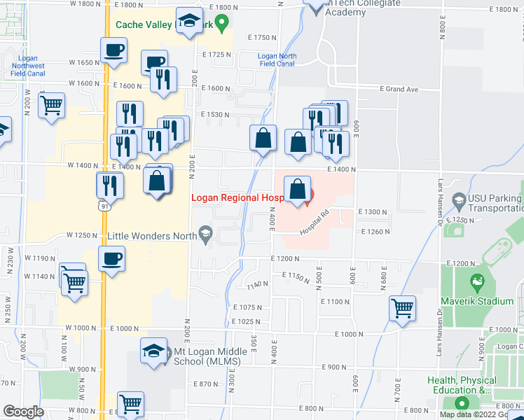 map of restaurants, bars, coffee shops, grocery stores, and more near 1303 North 400 East in Logan