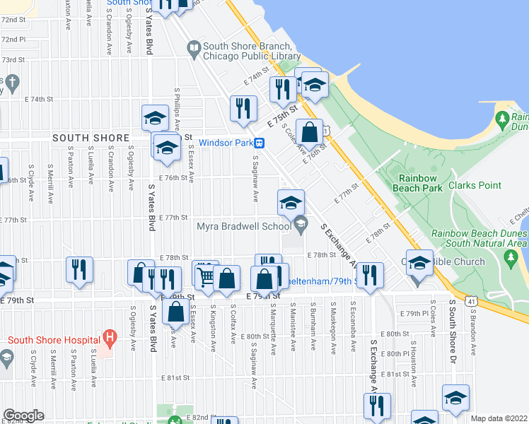 map of restaurants, bars, coffee shops, grocery stores, and more near 2650 E 77th St in Chicago