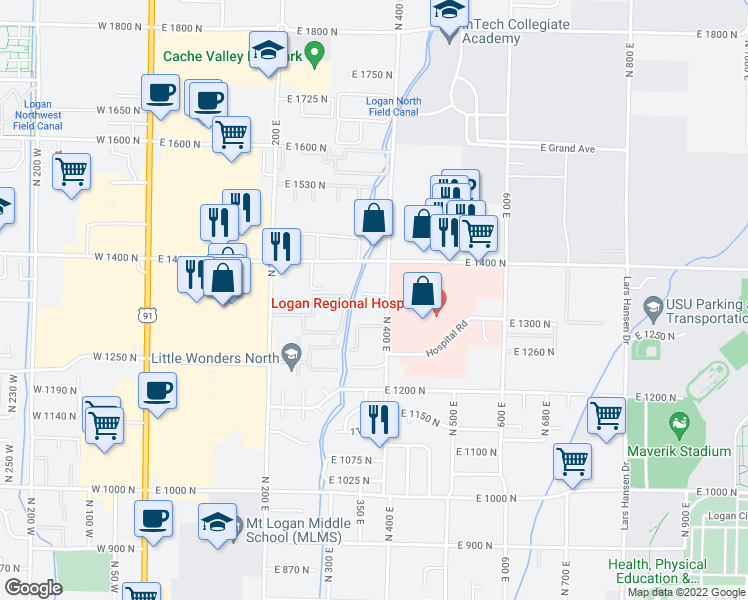 map of restaurants, bars, coffee shops, grocery stores, and more near 1365 North 400 East in Logan