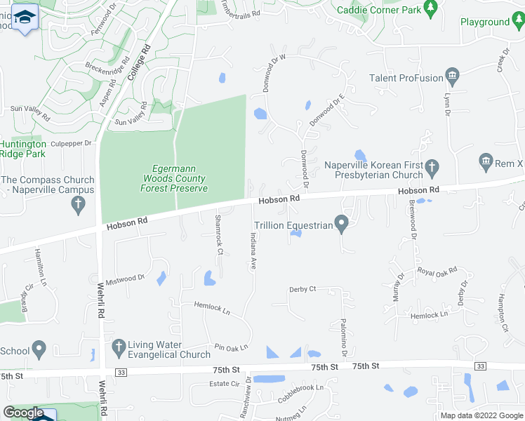 map of restaurants, bars, coffee shops, grocery stores, and more near 24W175 Hobson Road in Naperville