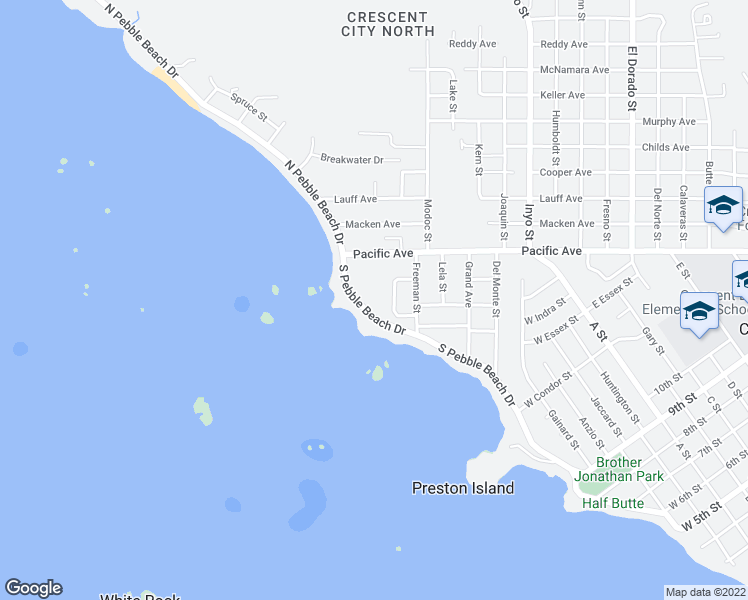 map of restaurants, bars, coffee shops, grocery stores, and more near 1795 South Pebble Beach Drive in Crescent City