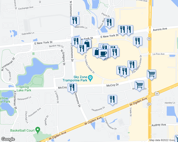 map of restaurants, bars, coffee shops, grocery stores, and more near 4195 Fox Valley Center Road in Aurora