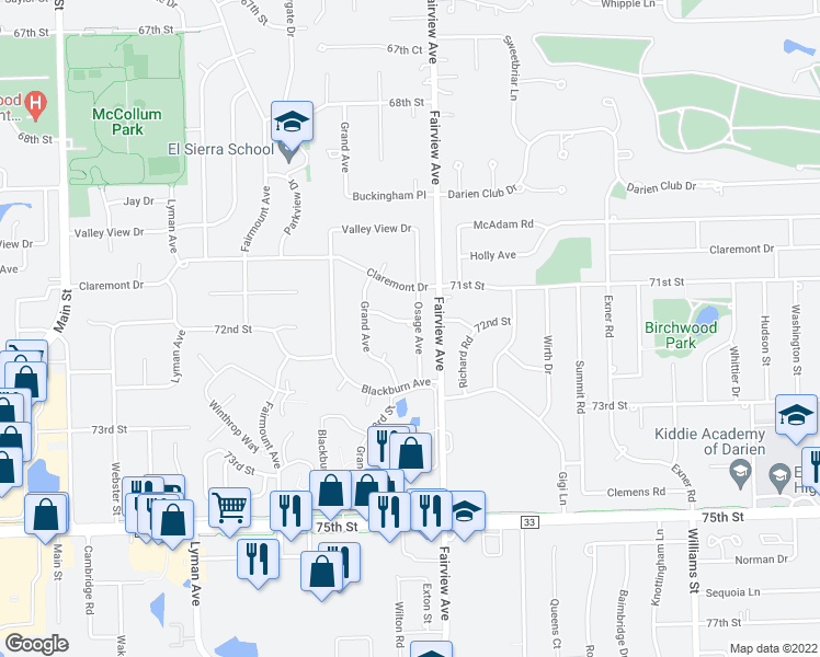 map of restaurants, bars, coffee shops, grocery stores, and more near 407 Ridgeview Street in Downers Grove