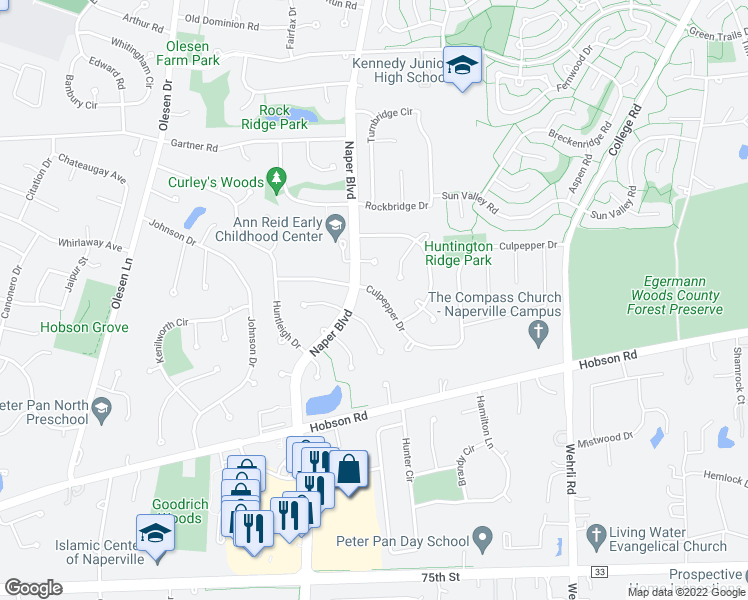 map of restaurants, bars, coffee shops, grocery stores, and more near 1414 Culpepper Drive in Naperville