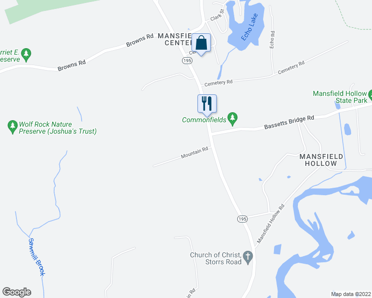map of restaurants, bars, coffee shops, grocery stores, and more near 28 Mountain Road in Mansfield
