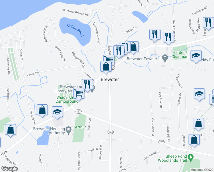 map of restaurants, bars, coffee shops, grocery stores, and more near 58 Harwich Road in Brewster