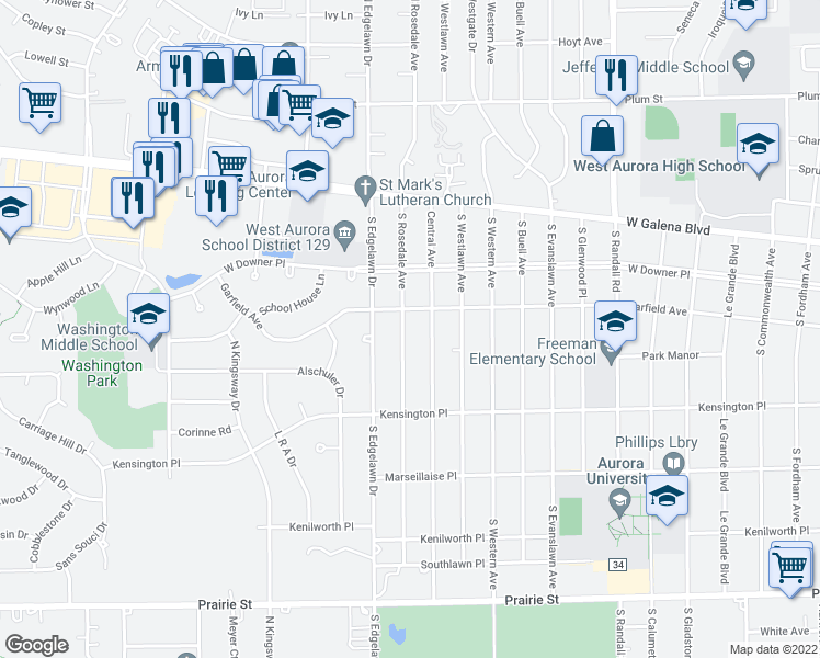 map of restaurants, bars, coffee shops, grocery stores, and more near 112 South Rosedale Avenue in Aurora