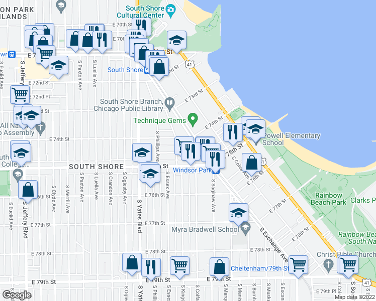 map of restaurants, bars, coffee shops, grocery stores, and more near 7424 South Colfax Avenue in Chicago