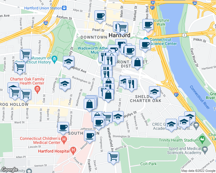 map of restaurants, bars, coffee shops, grocery stores, and more near 360 Main Street in Hartford