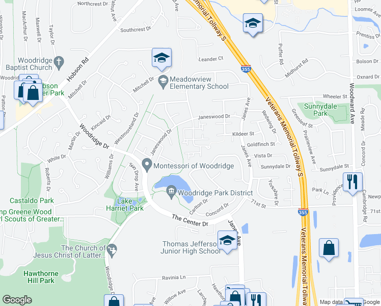 map of restaurants, bars, coffee shops, grocery stores, and more near 11 Wintergreen Court in Woodridge