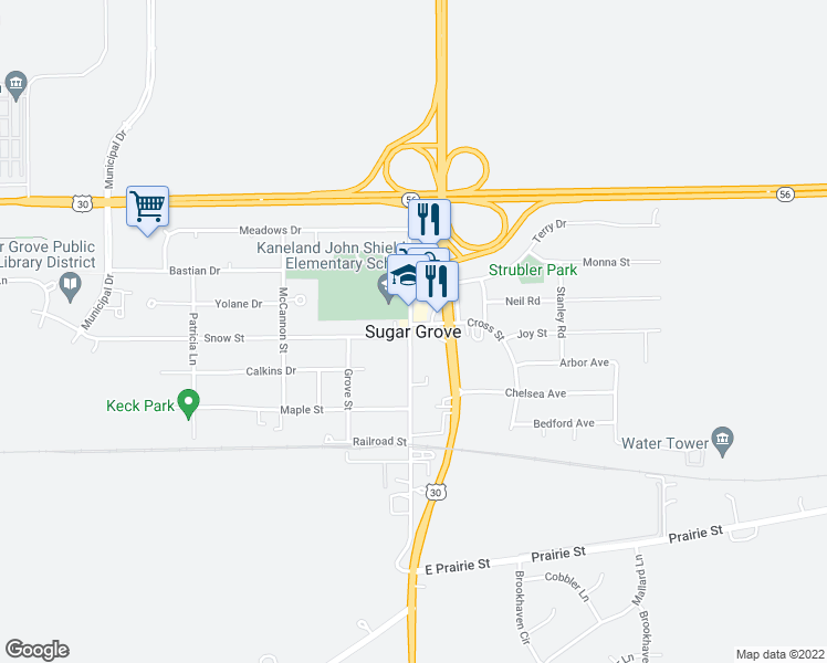 map of restaurants, bars, coffee shops, grocery stores, and more near in Sugar Grove