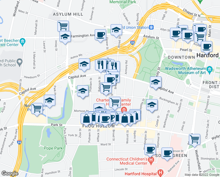 map of restaurants, bars, coffee shops, grocery stores, and more near 140 Russ Street in Hartford