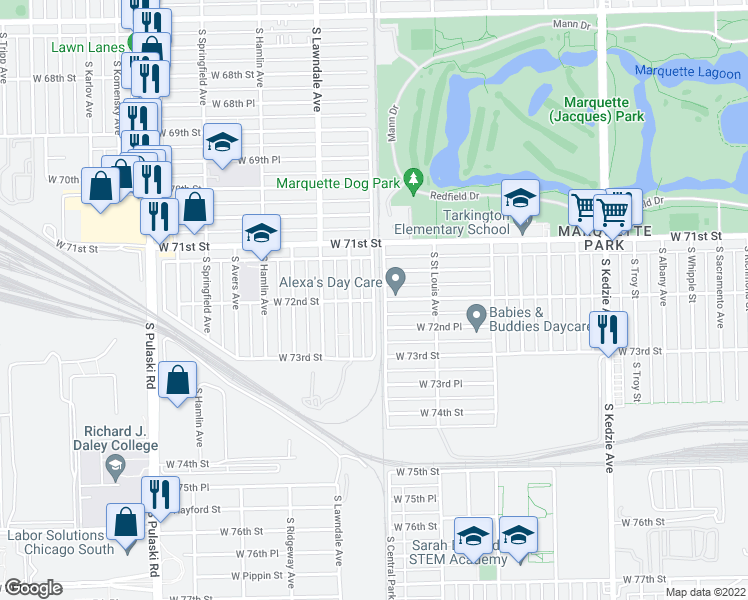 map of restaurants, bars, coffee shops, grocery stores, and more near West 72nd Street in Chicago