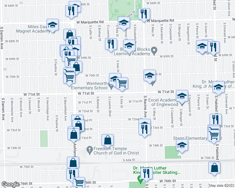 map of restaurants, bars, coffee shops, grocery stores, and more near 1328 West 71st Place in Chicago