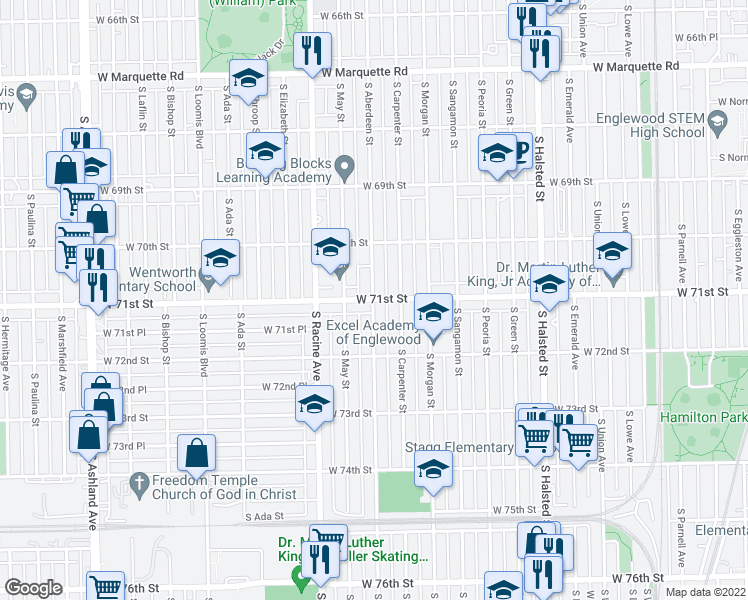 map of restaurants, bars, coffee shops, grocery stores, and more near W 71st St & S Aberdeen St in Chicago