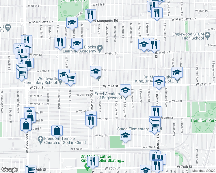 map of restaurants, bars, coffee shops, grocery stores, and more near West 71st Street & South Aberdeen Street in Chicago