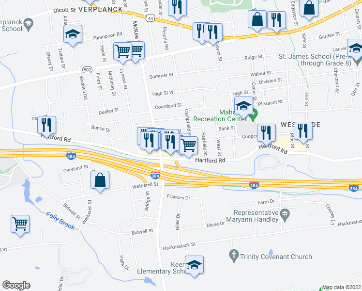 map of restaurants, bars, coffee shops, grocery stores, and more near 286 Cooper Hill Street in Manchester
