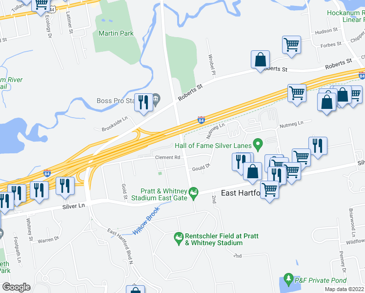 map of restaurants, bars, coffee shops, grocery stores, and more near Simmons Rd & Nutmeg Ln in East Hartford
