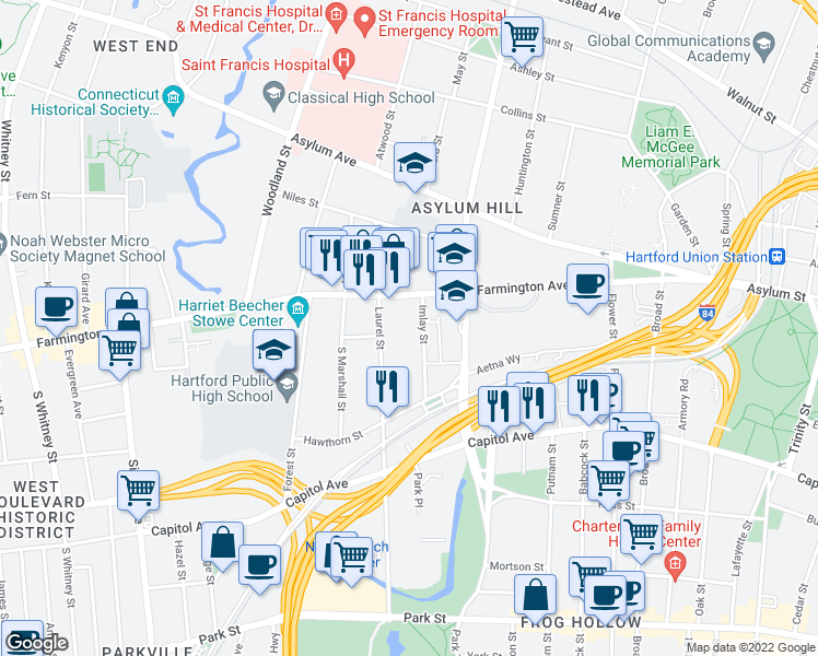 map of restaurants, bars, coffee shops, grocery stores, and more near 61 Imlay Street in Hartford